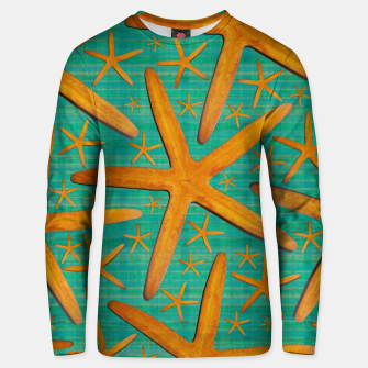 "Thumbnail image of ""Starfish in Turquoise and Mustard"" Sudadera unisex, Live Heroes"