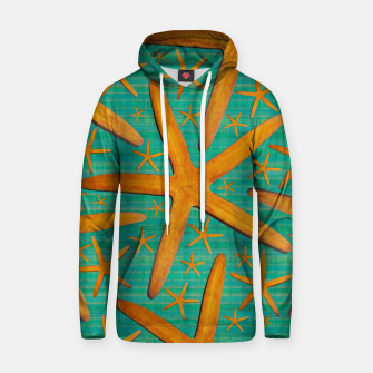 "Thumbnail image of ""Starfish in Turquoise and Mustard"" Sudadera con capucha, Live Heroes"