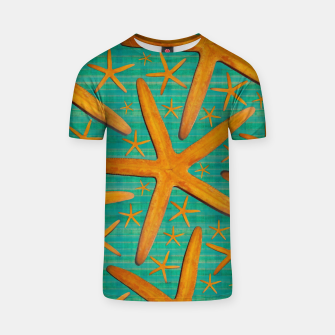 "Thumbnail image of ""Starfish in Turquoise and Mustard"" Camiseta, Live Heroes"