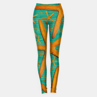 "Thumbnail image of ""Starfish in Turquoise and Mustard"" Leggings, Live Heroes"