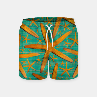 "Thumbnail image of ""Starfish in Turquoise and Mustard"" Pantalones de baño, Live Heroes"