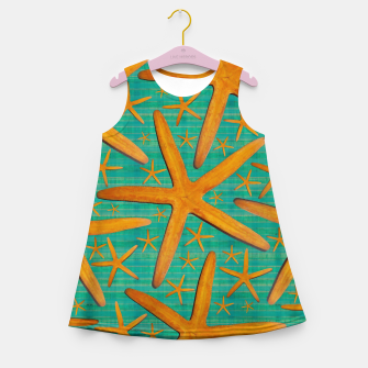 "Thumbnail image of ""Starfish in Turquoise and Mustard"" Vestido de verano para niñas, Live Heroes"