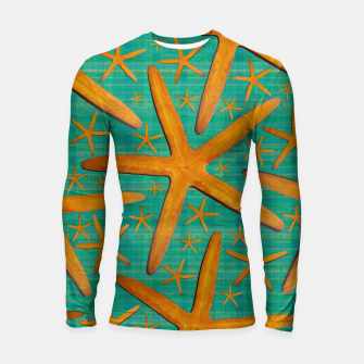 "Thumbnail image of ""Starfish in Turquoise and Mustard"" Longsleeve rashguard, Live Heroes"