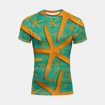 "Thumbnail image of ""Starfish in Turquoise and Mustard"" Shortsleeve rashguard, Live Heroes"