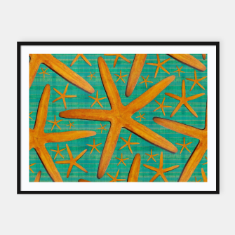 "Thumbnail image of ""Starfish in Turquoise and Mustard"" Cartel con marco, Live Heroes"
