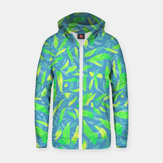 Green Splats on Blue Zip up hoodie thumbnail image