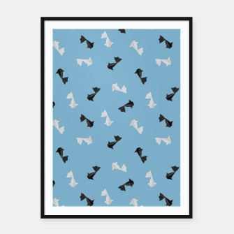 Thumbnail image of Black and White Origami Fish Pattern Plakat mit rahmen, Live Heroes