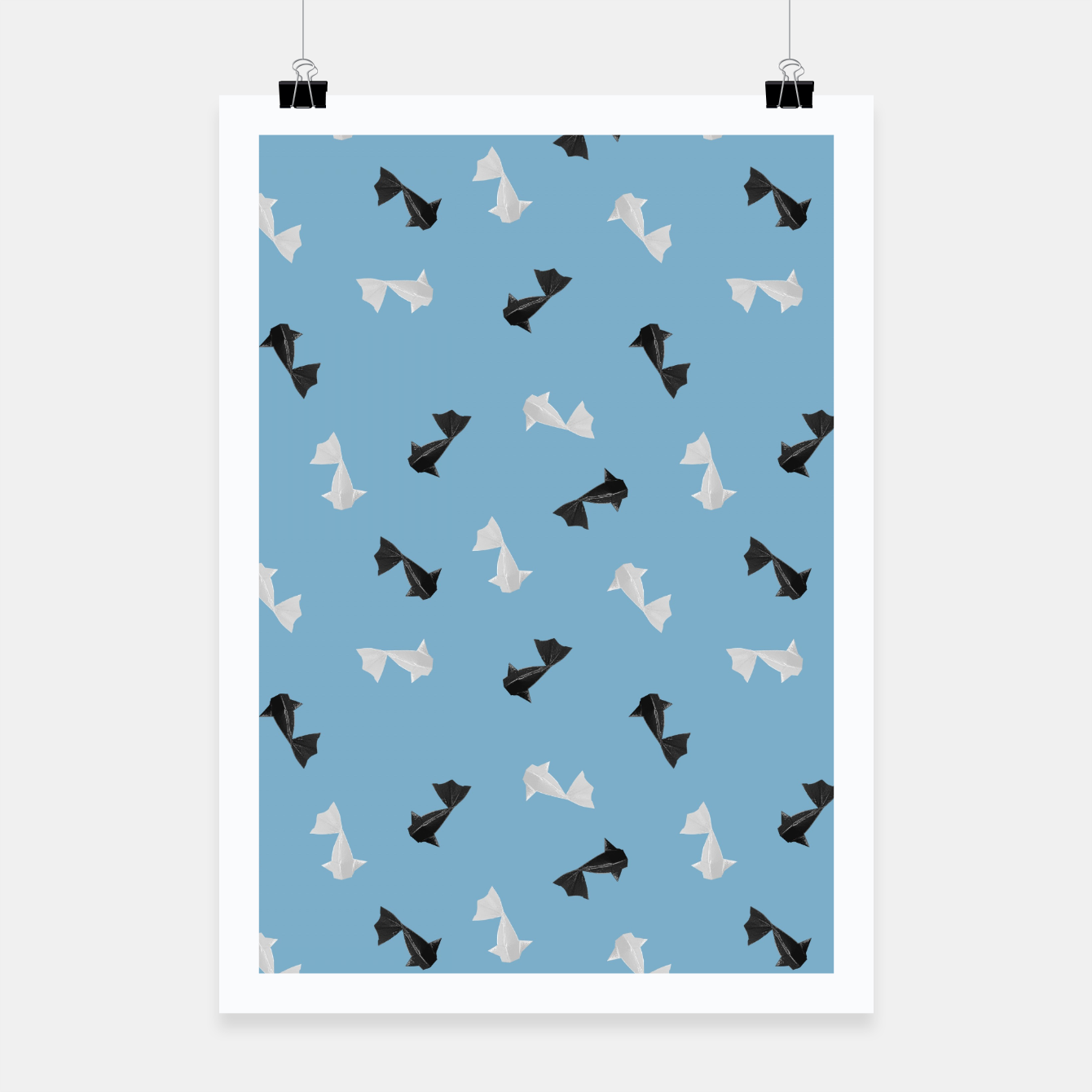 Zdjęcie Black and White Origami Fish Pattern Plakat - Live Heroes