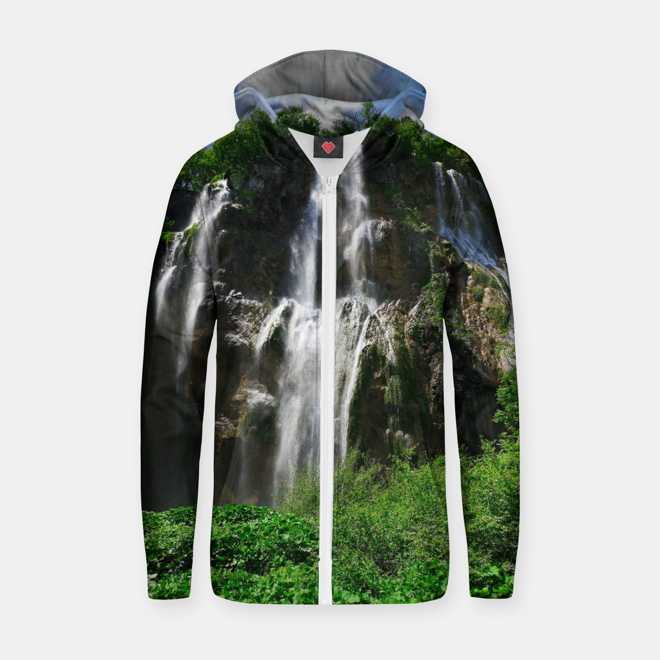 Image of veliki slap waterfall 2 plitvice lakes national park croatia std Zip up hoodie - Live Heroes