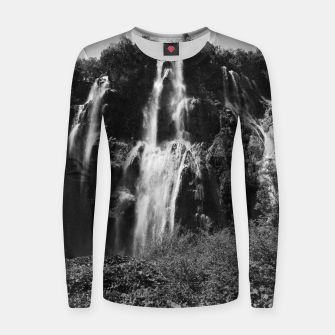 Miniaturka veliki slap waterfall 2 plitvice lakes national park croatia bw vintage Women sweater, Live Heroes