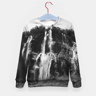 Miniaturka veliki slap waterfall 2 plitvice lakes national park croatia bw vintage Kid's sweater, Live Heroes