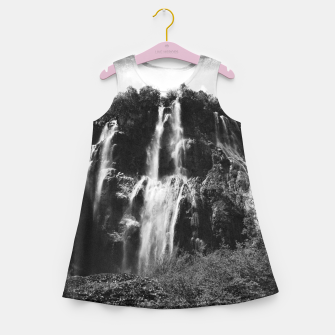 Miniaturka veliki slap waterfall 2 plitvice lakes national park croatia bw vintage Girl's summer dress, Live Heroes