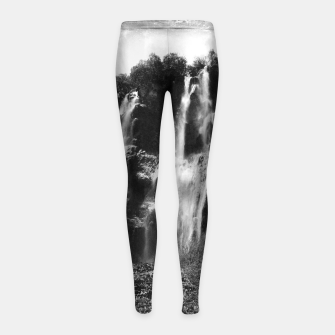 Miniaturka veliki slap waterfall 2 plitvice lakes national park croatia bw vintage Girl's leggings, Live Heroes
