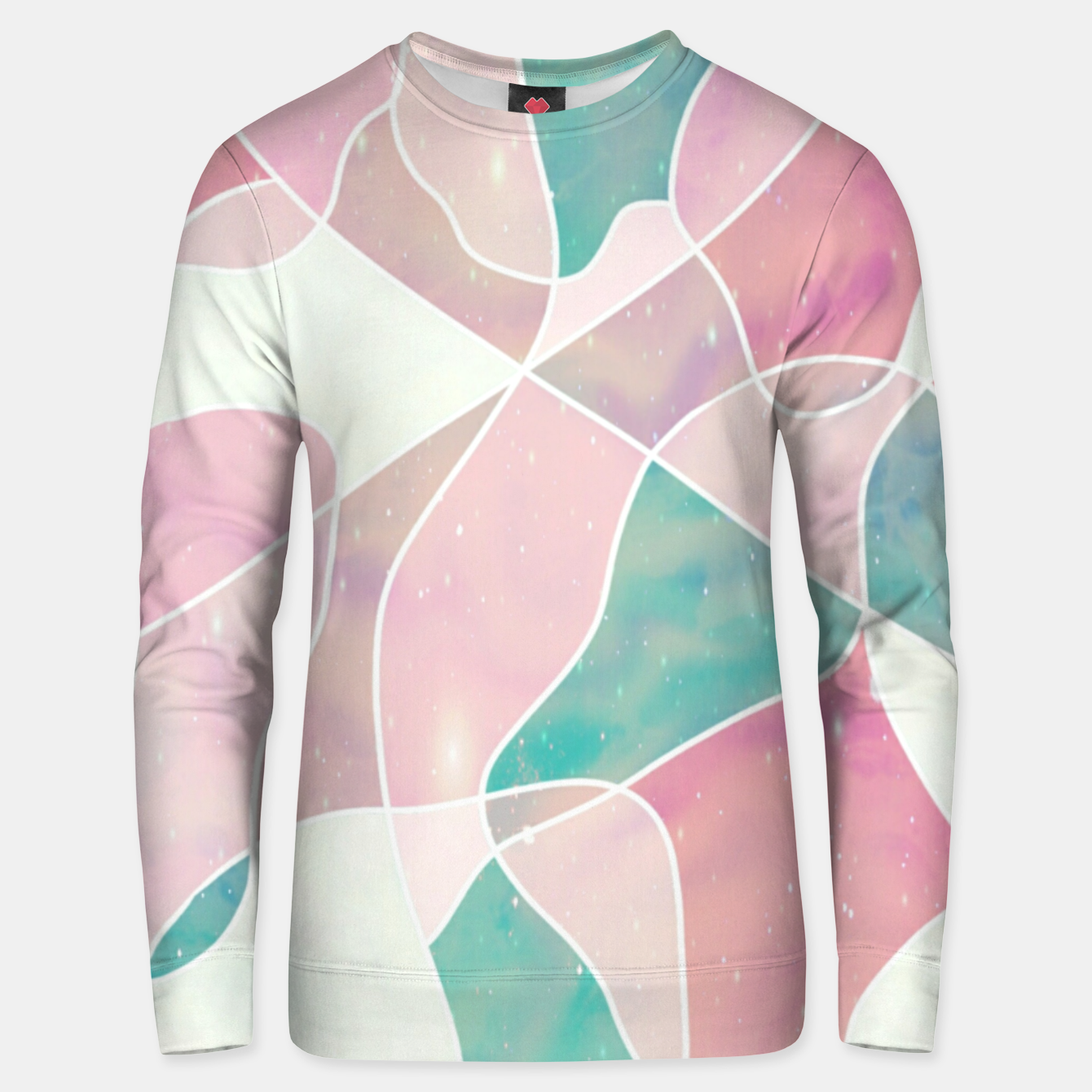 Image of Pink and bluegreen geometric Unisex sweater - Live Heroes