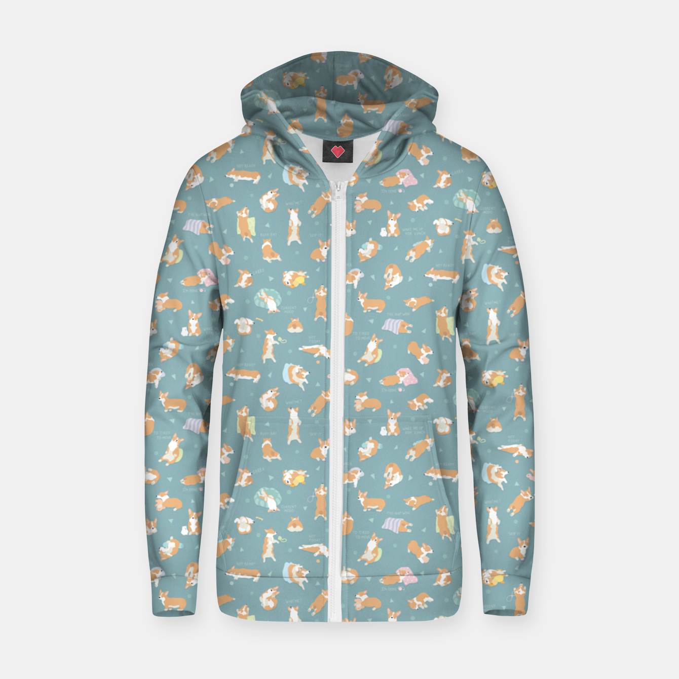 Image of Corgi Day After Night Party With Fairies Zip up hoodie - Live Heroes
