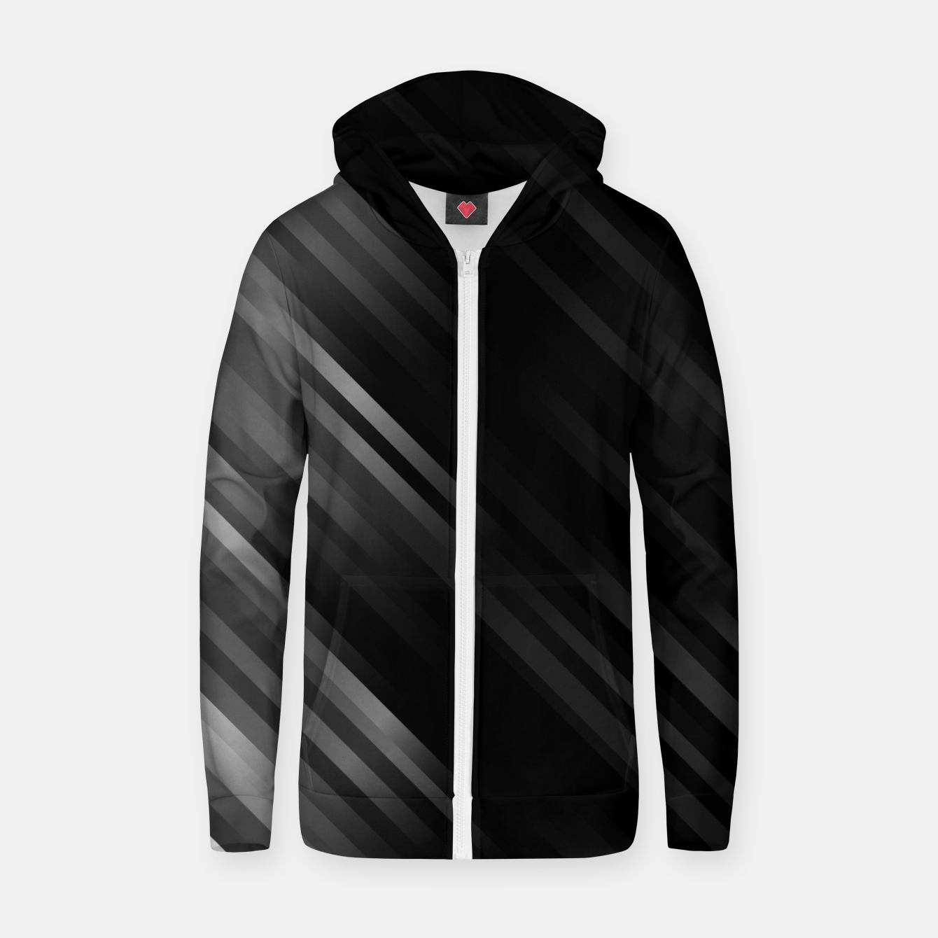 Image of stripes wave pattern 7v1 bwi Zip up hoodie - Live Heroes