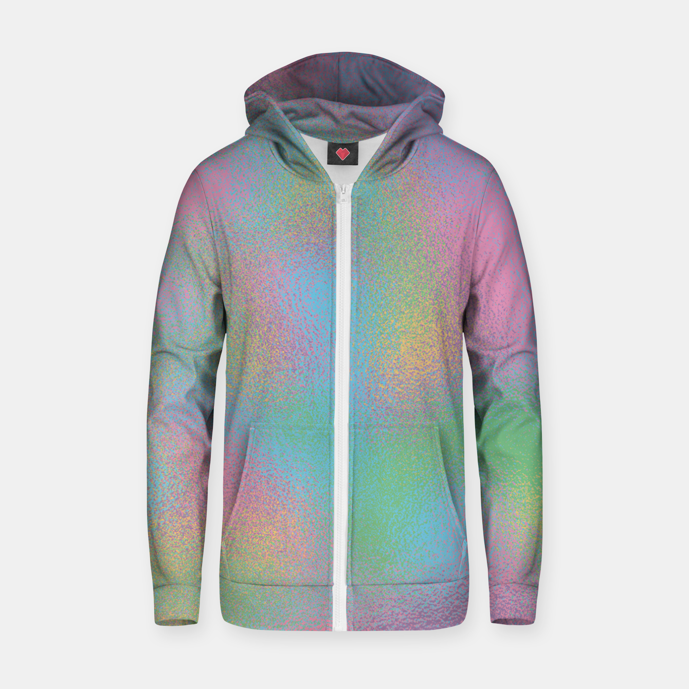 Image of Faux Holographic Glass texture  Zip up hoodie - Live Heroes
