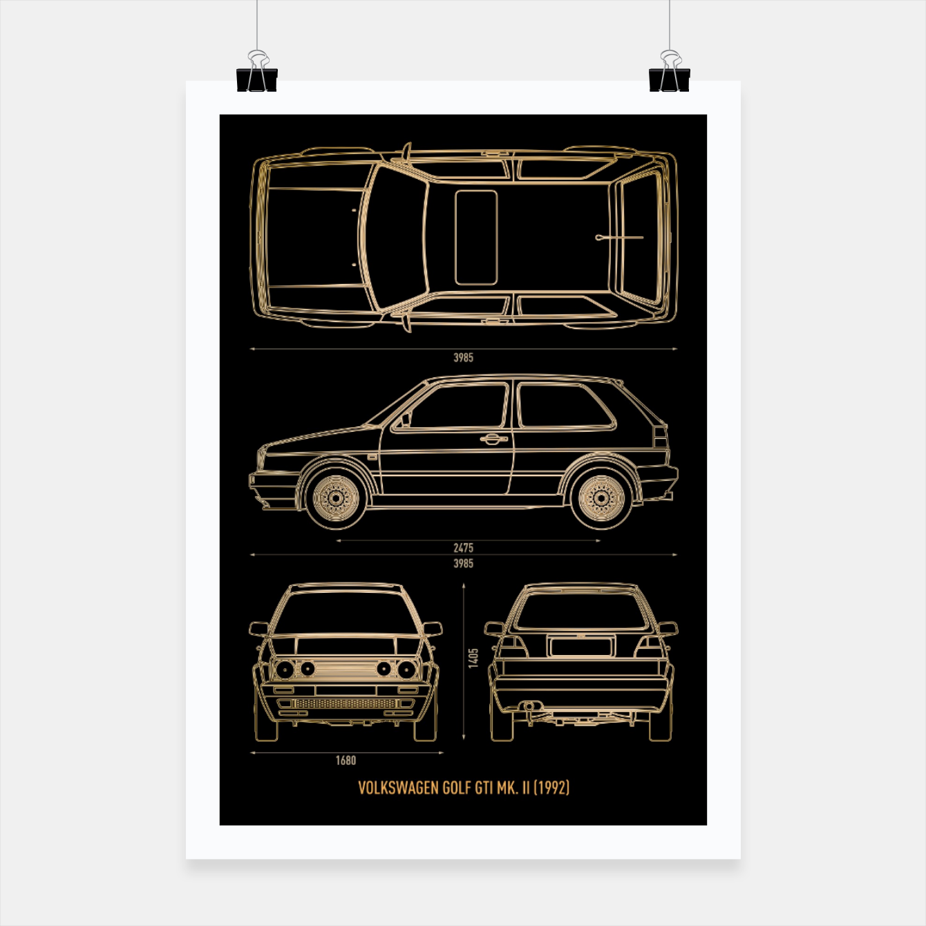 Image of GOLF mk 2 1992 Poster - Live Heroes