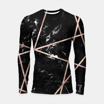 Thumbnail image of Black Marble Rose Gold Geo Glam #1 #geo #decor #art  Longsleeve rashguard, Live Heroes