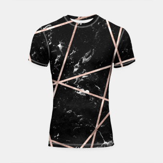 Thumbnail image of Black Marble Rose Gold Geo Glam #1 #geo #decor #art  Shortsleeve rashguard, Live Heroes