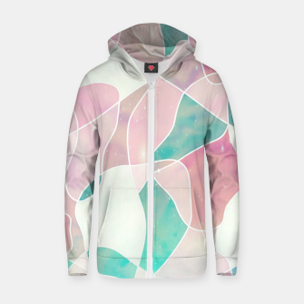 Pink and bluegreen geometric Zip up hoodie thumbnail image
