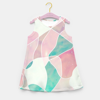 Pink and bluegreen geometric Girl's summer dress thumbnail image