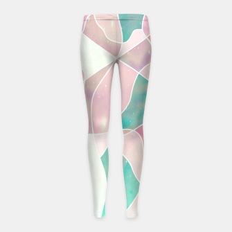 Thumbnail image of Pink and bluegreen geometric Girl's leggings, Live Heroes