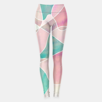 Thumbnail image of Pink and bluegreen geometric Leggings, Live Heroes