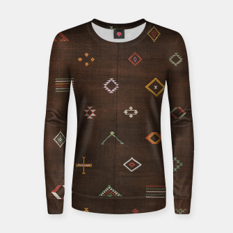 Thumbnail image of Antique Brown Traditional Moroccan Geometric Artwork Women sweater, Live Heroes