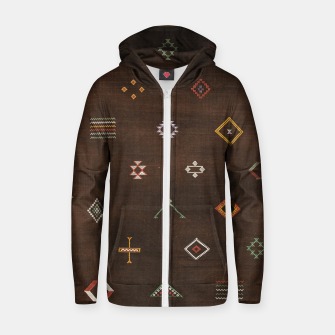 Antique Brown Traditional Moroccan Geometric Artwork Zip up hoodie thumbnail image