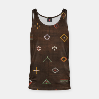 Antique Brown Traditional Moroccan Geometric Artwork Tank Top thumbnail image