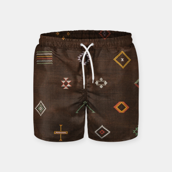 Antique Brown Traditional Moroccan Geometric Artwork Swim Shorts thumbnail image