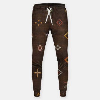 Antique Brown Traditional Moroccan Geometric Artwork Sweatpants thumbnail image
