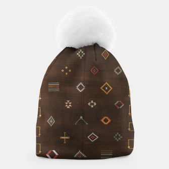 Antique Brown Traditional Moroccan Geometric Artwork Beanie thumbnail image