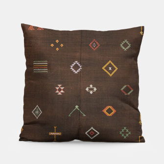 Antique Brown Traditional Moroccan Geometric Artwork Pillow thumbnail image