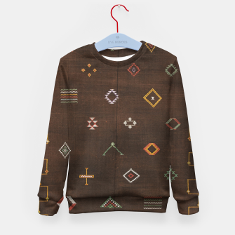 Antique Brown Traditional Moroccan Geometric Artwork Kid's sweater thumbnail image