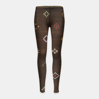 Antique Brown Traditional Moroccan Geometric Artwork Girl's leggings thumbnail image