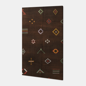 Antique Brown Traditional Moroccan Geometric Artwork Canvas thumbnail image