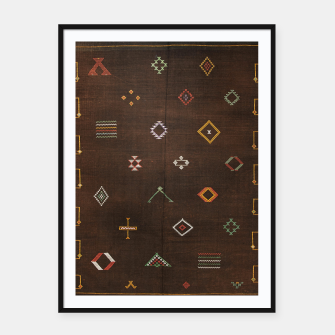 Antique Brown Traditional Moroccan Geometric Artwork Framed poster thumbnail image