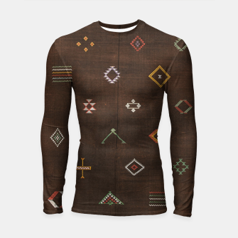 Thumbnail image of Antique Brown Traditional Moroccan Geometric Artwork Longsleeve rashguard , Live Heroes
