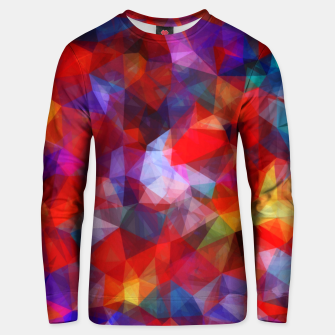 Miniatur geometric triangle pattern abstract background in red blue yellow Unisex sweater, Live Heroes