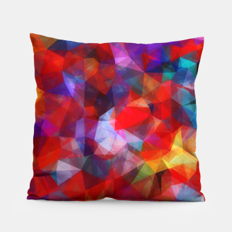Thumbnail image of geometric triangle pattern abstract background in red blue yellow Pillow, Live Heroes