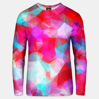 Miniatur geometric triangle pattern abstract background in pink red blue Unisex sweater, Live Heroes