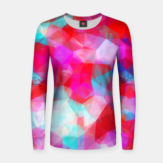Miniatur geometric triangle pattern abstract background in pink red blue Women sweater, Live Heroes