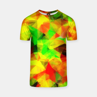 Thumbnail image of geometric triangle pattern abstract background in yellow green red T-shirt, Live Heroes