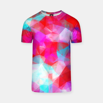Thumbnail image of geometric triangle pattern abstract background in pink red blue T-shirt, Live Heroes