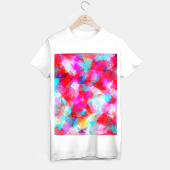Thumbnail image of geometric triangle pattern abstract background in pink red blue T-shirt regular, Live Heroes