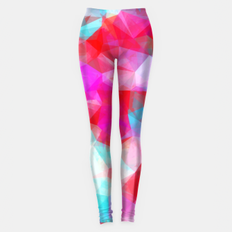 Thumbnail image of geometric triangle pattern abstract background in pink red blue Leggings, Live Heroes
