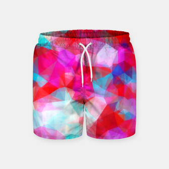 Thumbnail image of geometric triangle pattern abstract background in pink red blue Swim Shorts, Live Heroes