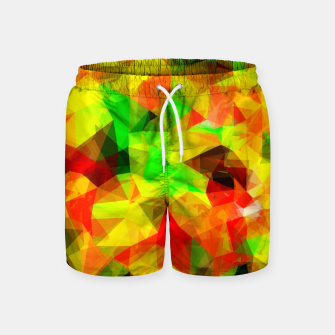 Thumbnail image of geometric triangle pattern abstract background in yellow green red Swim Shorts, Live Heroes